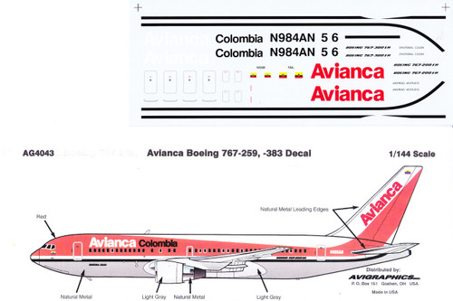 1/144 Scale Decal Avianca 767-200 / 300