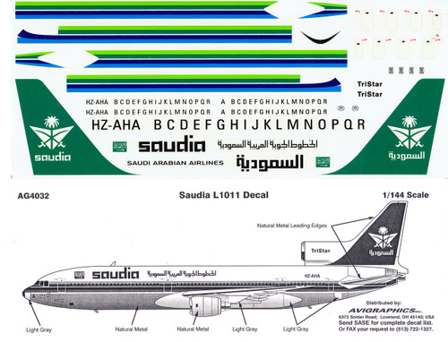 1/144 Scale Decal Saudia L-1011