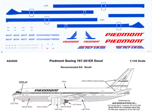 1/144 Scale Decal Piedmont 767-200