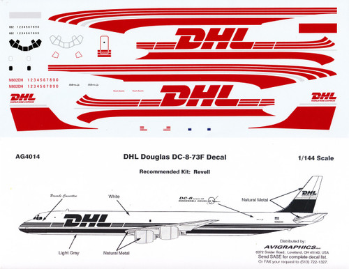 1/144 Scale Decal DHL DC8-73F