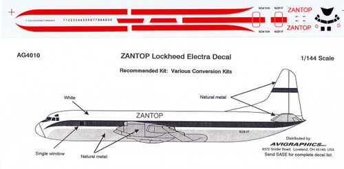 1/144 Scale Decal Zantop Electra