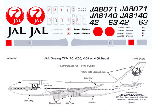 1/144 Scale Decal JAL 747-100 thru 400