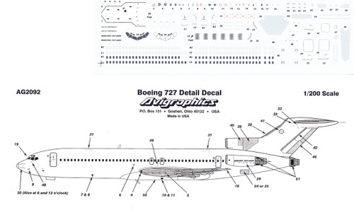 1/200 Scale Decal Detail Sheet 727