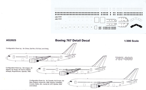 1/200 Scale Decal Detail Sheet 767