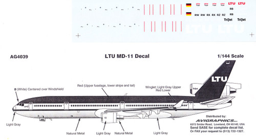 1/144 Scale Decal LTU MD-11