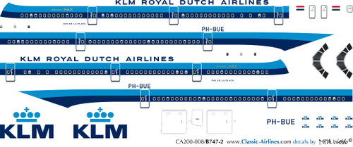 1/200 Scale Decal KLM 747-200