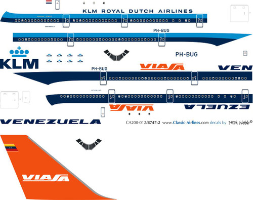 1/200 Scale Decal KLM / Viasa 747-200