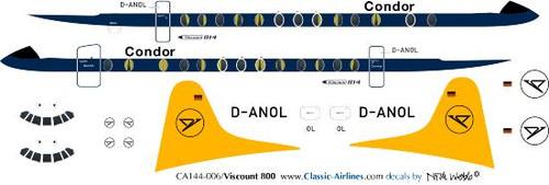 1/144 Scale Decal Condor Viscount 800