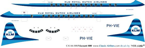 1/144 Scale Decal KLM Viscount 800