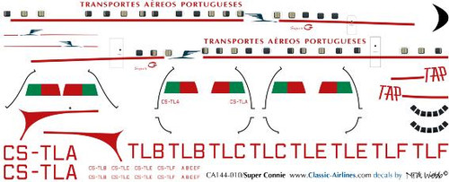 1/144 Scale Decal TAP Portugal Super Constellation