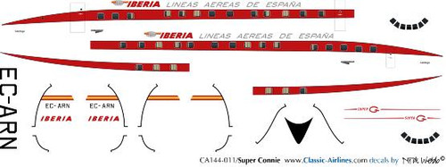 1/144 Scale Decal Iberia Super Constellation