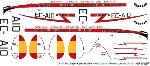 1/144 Scale Decal Iberia Super Constellation V2