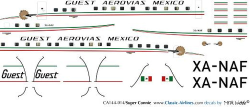 1/144 Scale Decal Guest Aerovias / Guest Airways Super Constellation