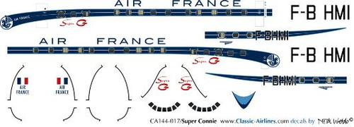 1/144 Scale Decal Air France Super Constellation