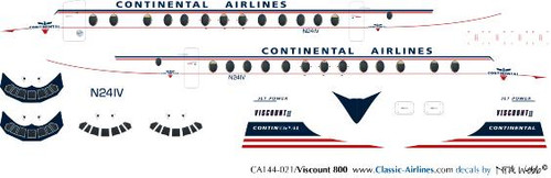 1/144 Scale Decal Continental Viscount 800