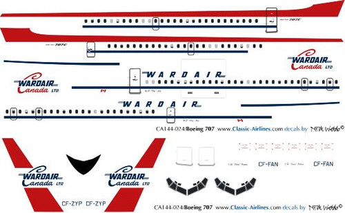 1/144 Scale Decal Wardair 707