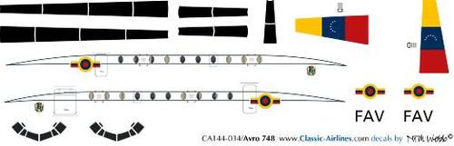 1/144 Scale Decal Venezuelan Air Force HS-748
