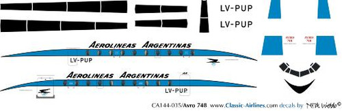 1/144 Scale Decal Aerolineas Argentinas HS-748