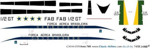1/144 Scale Decal Brasilian Air Force HS-748