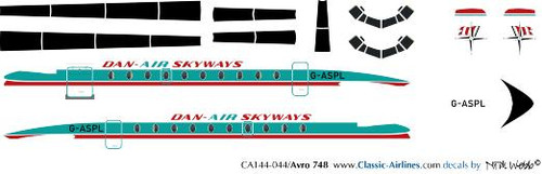 1/144 Scale Decal Dan-Air Skyways HS-748