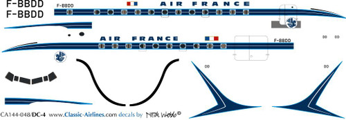 1/144 Scale Decal Air France DC-4