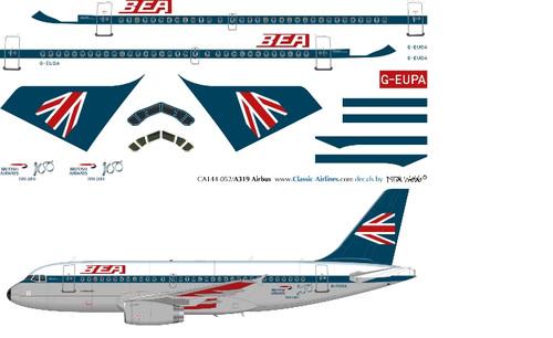 1/144 Scale Decal British Airways A-319 BEA Retro