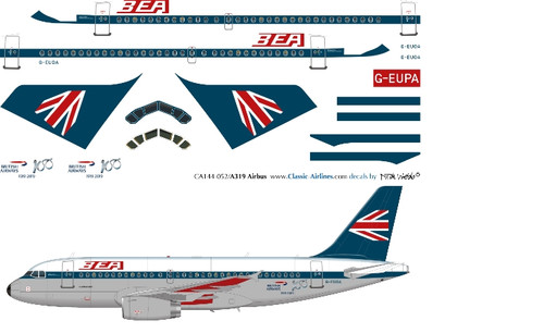 1/144 Scale Decal British Airways A-319 BEA Retro