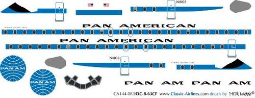 1/144 Scale Decal Pan American DC8-63CF