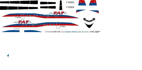 1/144 Scale Decal TAT HS-748 Blue / Red