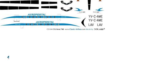1/144 Scale Decal Aeropostal HS-748