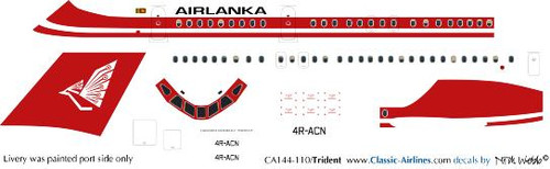 1/144 Scale Decal Airlanka Trident
