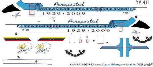 1/144 Scale Decal Aeropostal DC9-30 Retro