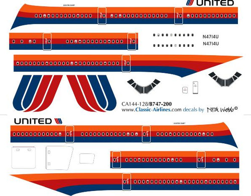 1/144 Scale Decal United 747-200