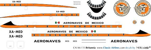 1/144 Scale Decal Aeronaves de Mexico Britannia