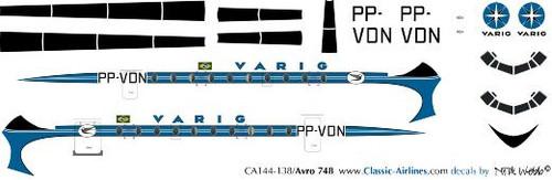 1/144 Scale Decal Varig HS-748
