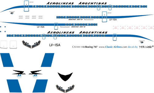 1/144 Scale Decal Aerolineas Argentinas 707 Delivery