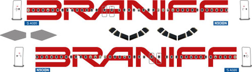 1/144 Scale Decal Braniff A-320 Red