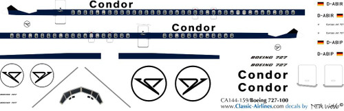 1/144 Scale Decal Condor 727-100 Delivery
