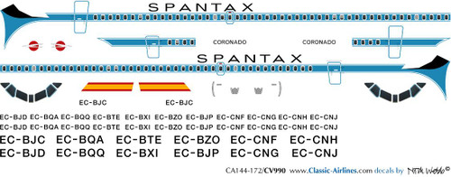 1/144 Scale Decal Spantax Convair 990