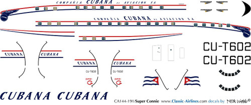 1/144 Scale Decal Cubana Super Constellation