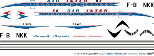 1/144 Scale Decal Air Inter Caravelle