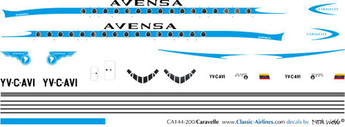1/144 Scale Decal Avensa Caravelle