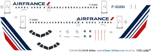 1/144 Scale Decal Air France A-318 New