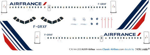 1/144 Scale Decal Air France A-319 New