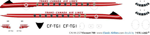 1/144 Scale Decal Trans-Canada Viscount 700
