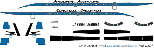 1/144 Scale Decal Aerolineas Argentinas YS-11