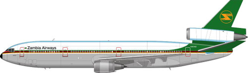 1/144 Scale Decal Zambia Airways DC10-30