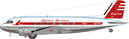 1/144 Scale Decal Capital Airlines DC-3