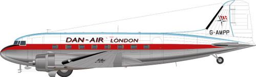 1/144 Scale Decal Dan-Air London DC-3