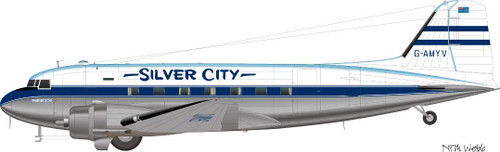 1/144 Scale Decal Silver City DC-3